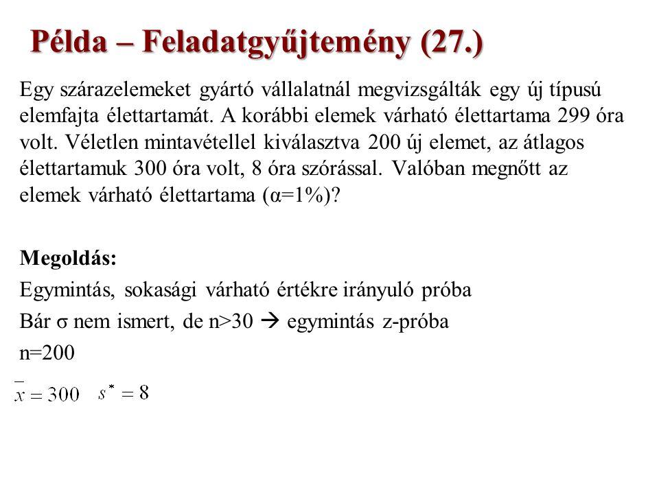 Példa – Feladatgyűjtemény (27.) Egy szárazelemeket gyártó vállalatnál megvizsgálták egy új típusú elemfajta élettartamát.