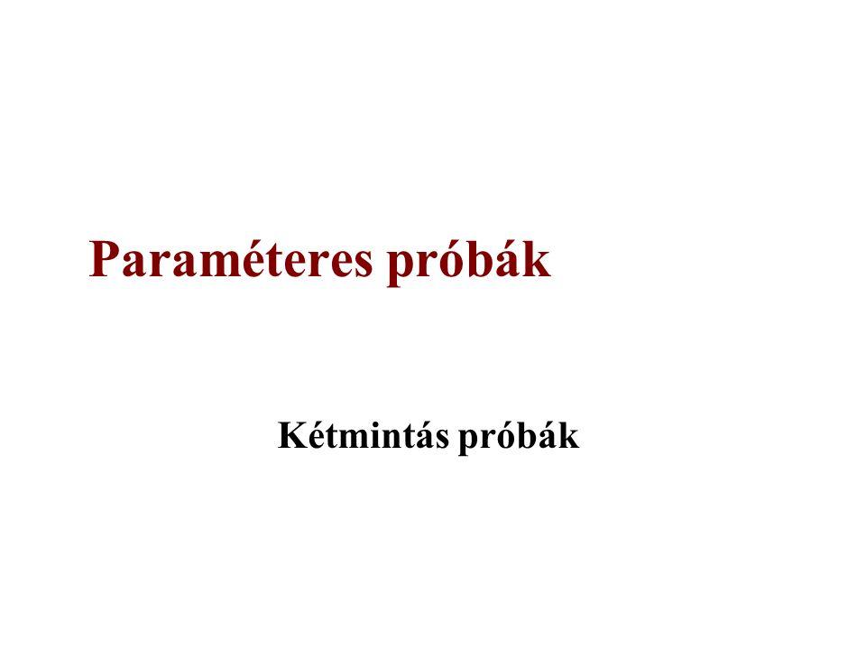 Paraméteres próbák Kétmintás próbák