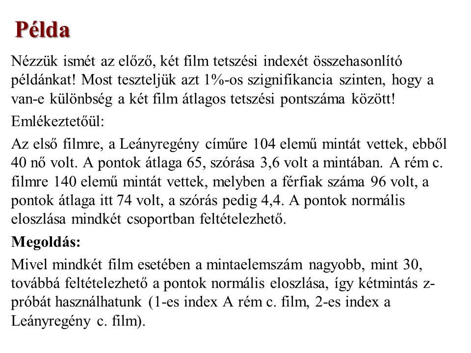 Nézzük ismét az előző, két film tetszési indexét összehasonlító példánkat.