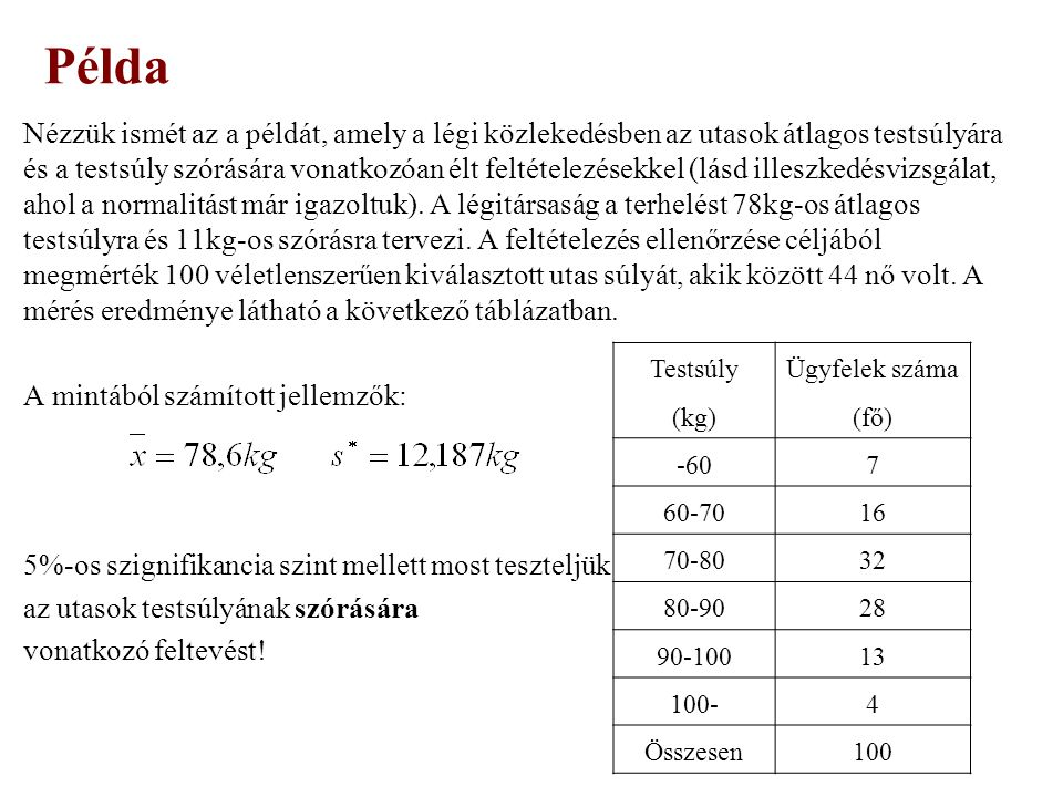  Megoldás: n=100 (DF=99)  Hipotézisek: H 0 : σ=11kg H 1 : σ>11kg H 1 : σ≠11kg Példa Elfogadási tartomány: Kritikus érték: (α=5%, DF=99) ˂ Mivel a számított érték kisebb, mint a kritikus érték, így 5%-os szignifikancia szinten elfogadjuk a nullhipotézist, azaz a sokasági szórásra vonatkozó feltételezés elfogadható.