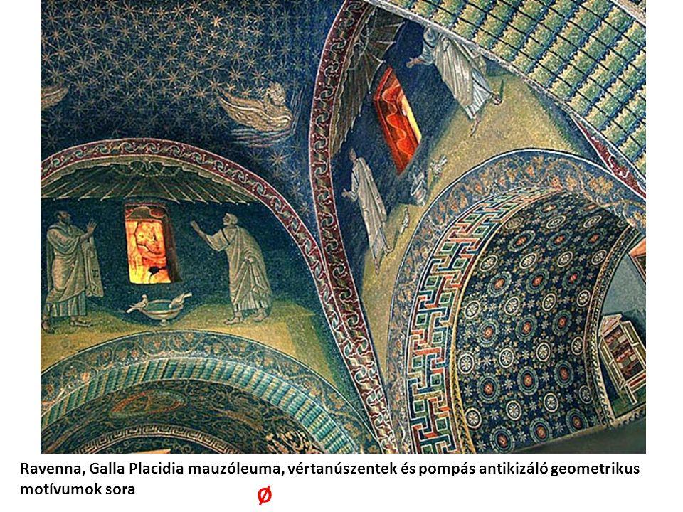 Ravenna, Galla Placidia mauzóleuma, vértanúszentek és pompás antikizáló geometrikus motívumok sora Ø