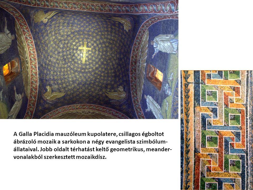 A Galla Placidia mauzóleum kupolatere, csillagos égboltot ábrázoló mozaik a sarkokon a négy evangelista szimbólum- állataival.