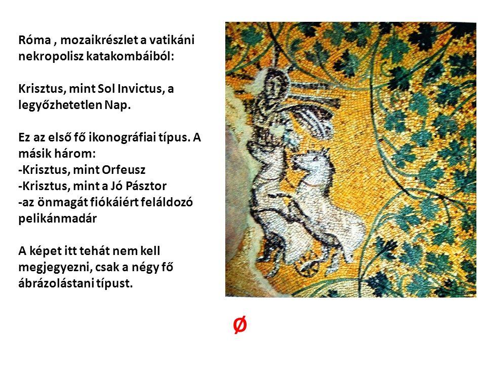Róma, mozaikrészlet a vatikáni nekropolisz katakombáiból: Krisztus, mint Sol Invictus, a legyőzhetetlen Nap. Ez az első fő ikonográfiai típus. A másik
