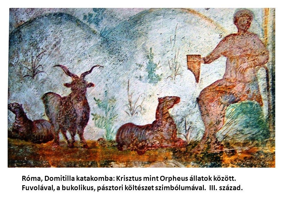 Róma, Domitilla katakomba: Krisztus mint Orpheus állatok között. Fuvolával, a bukolikus, pásztori költészet szimbólumával. III. század.
