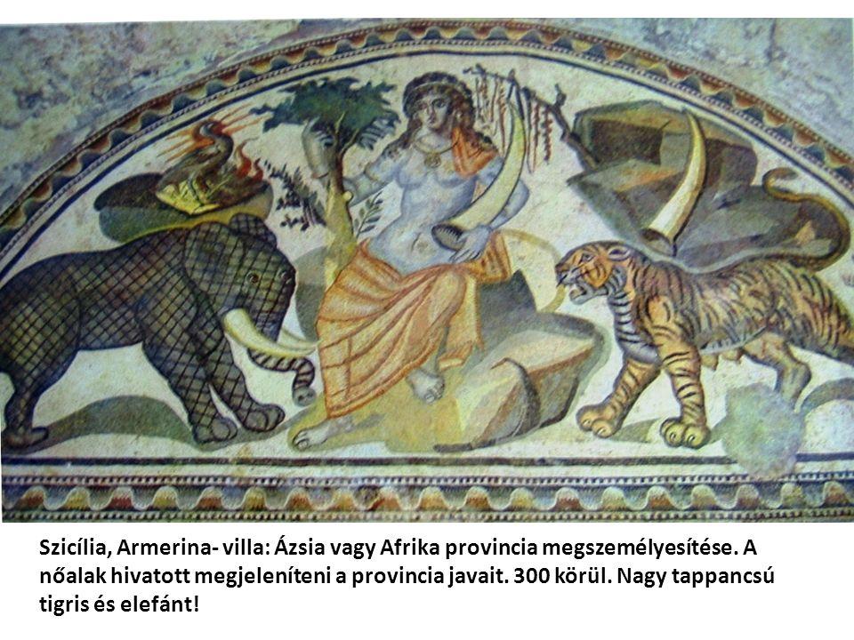 Szicília, Armerina- villa: Ázsia vagy Afrika provincia megszemélyesítése. A nőalak hivatott megjeleníteni a provincia javait. 300 körül. Nagy tappancs