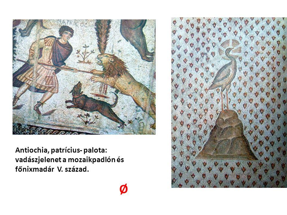 Antiochia, patrícius- palota: vadászjelenet a mozaikpadlón és főnixmadár V. század. Ø