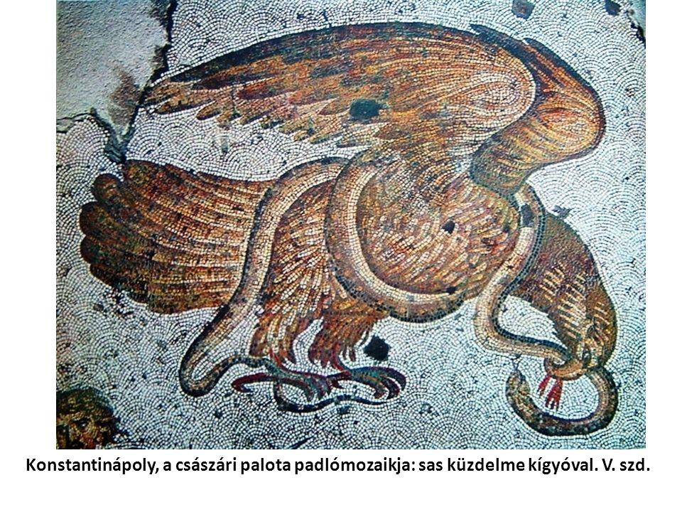 Konstantinápoly, a császári palota padlómozaikja: sas küzdelme kígyóval. V. szd.