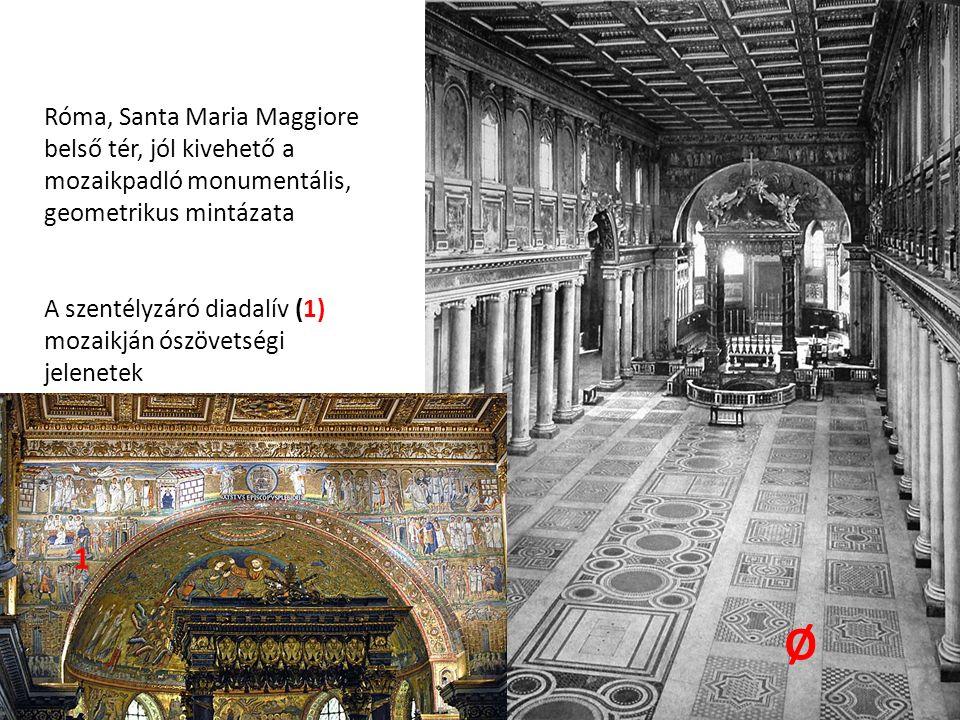 Róma, Santa Maria Maggiore belső tér, jól kivehető a mozaikpadló monumentális, geometrikus mintázata A szentélyzáró diadalív (1) mozaikján ószövetségi