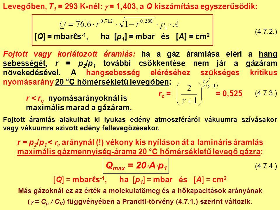 Levegőben, T 1 = 293 K-nél:  = 1,403, a Q kiszámítása egyszerűsödik: (4.7.2.) [Q] = mbarℓs -1, ha [p 1 ] = mbar és [A] = cm 2 Fojtott áramlás alakulhat ki lyukas edény atmoszféráról vákuumra szívásakor vagy vákuumra szívott edény fellevegőzésekor.