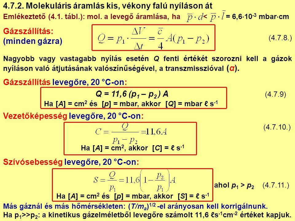 Nagyobb vagy vastagabb nyílás esetén Q fenti értékét szorozni kell a gázok nyíláson való átjutásának valószínűségével, a transzmisszióval (α).