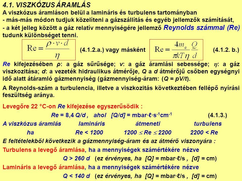 4.2.MOLEKULÁRIS ÁRAMLÁS Alacsony nyomáson a közepes szabad úthossz nagy: > d, Kn > 1.