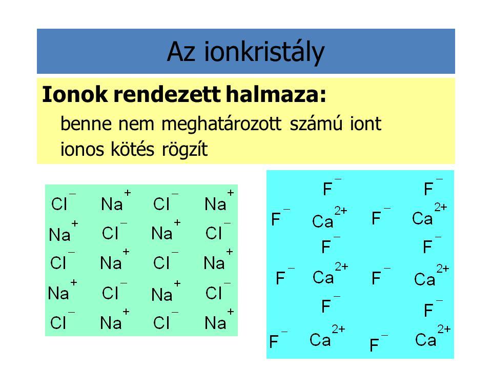 Az ionkristály Ionok rendezett halmaza: benne nem meghatározott számú iont ionos kötés rögzít