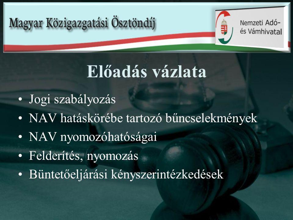 Előadás vázlata Jogi szabályozás NAV hatáskörébe tartozó bűncselekmények NAV nyomozóhatóságai Felderítés, nyomozás Büntetőeljárási kényszerintézkedése