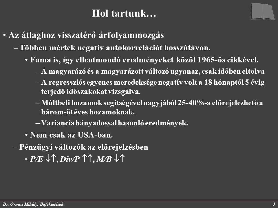 Dr. Ormos Mihály, Befektetések3 Hol tartunk… Az átlaghoz visszatérő árfolyammozgás –Többen mértek negatív autokorrelációt hosszútávon. Fama is, így el