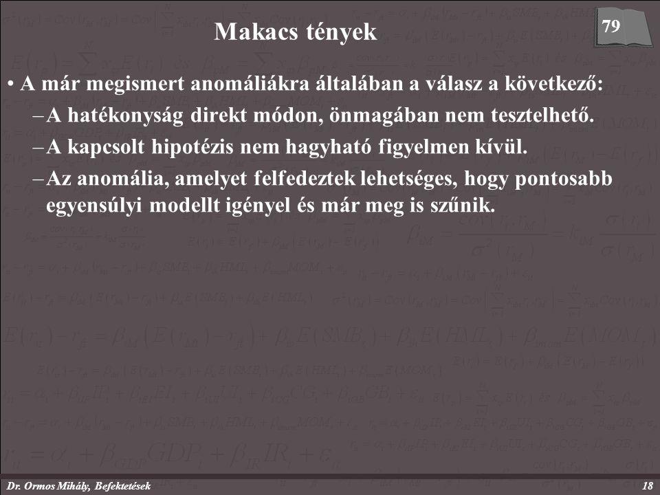 Dr. Ormos Mihály, Befektetések18 Makacs tények A már megismert anomáliákra általában a válasz a következő: –A hatékonyság direkt módon, önmagában nem