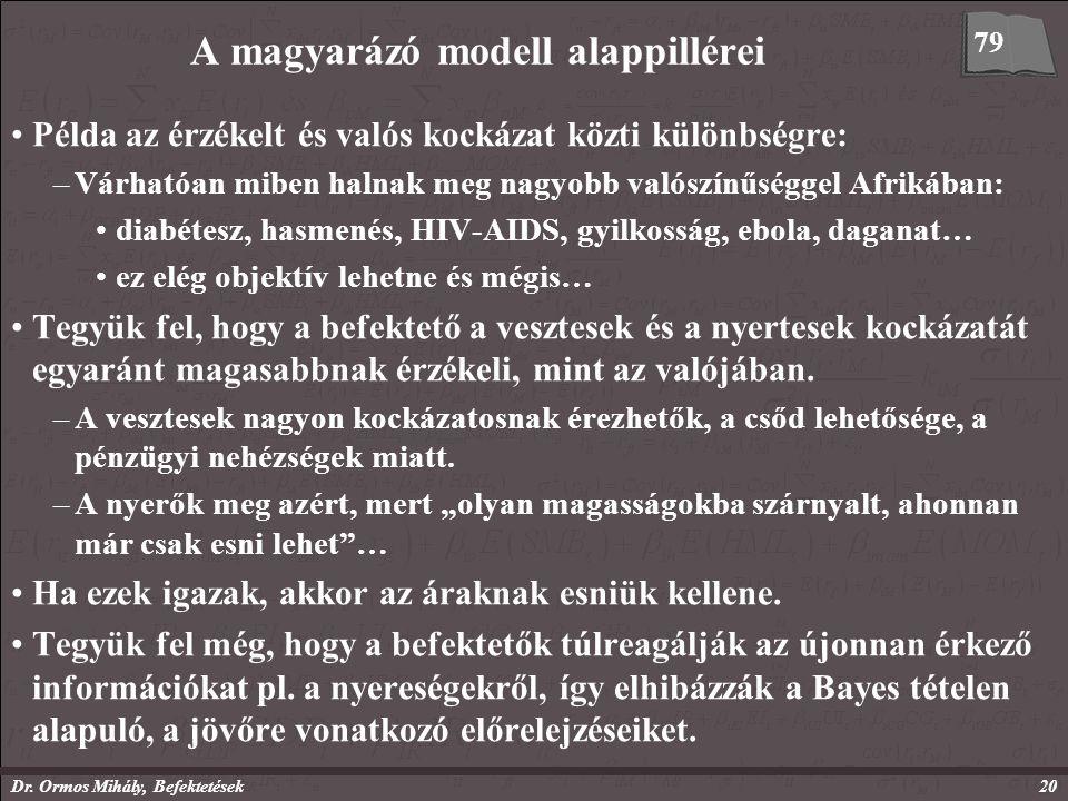 Dr. Ormos Mihály, Befektetések20 A magyarázó modell alappillérei Példa az érzékelt és valós kockázat közti különbségre: –Várhatóan miben halnak meg na