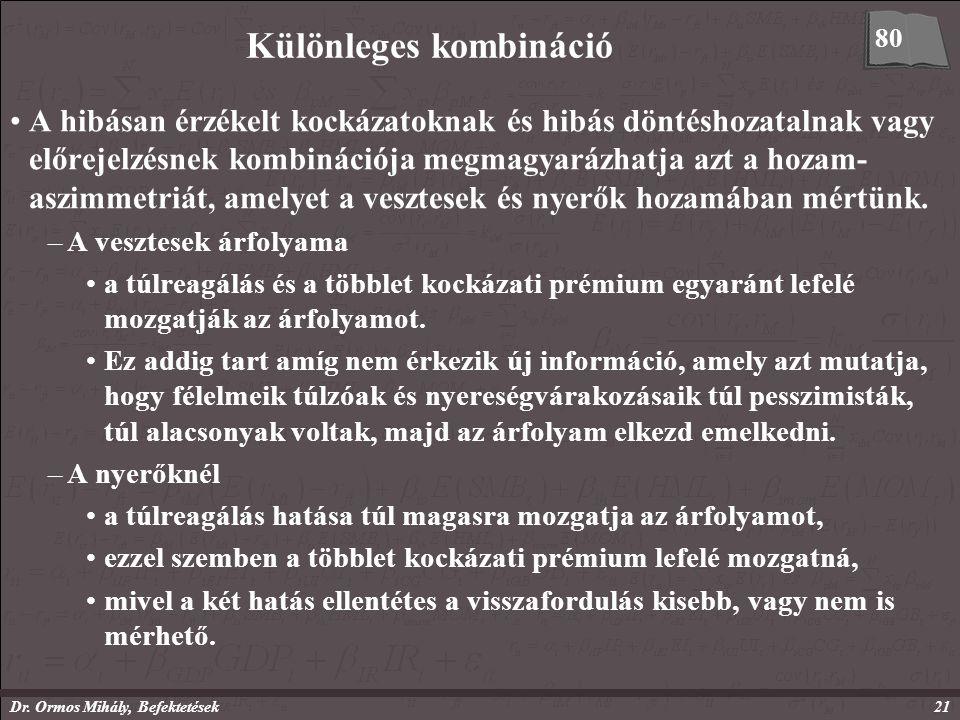 Dr. Ormos Mihály, Befektetések21 Különleges kombináció A hibásan érzékelt kockázatoknak és hibás döntéshozatalnak vagy előrejelzésnek kombinációja meg
