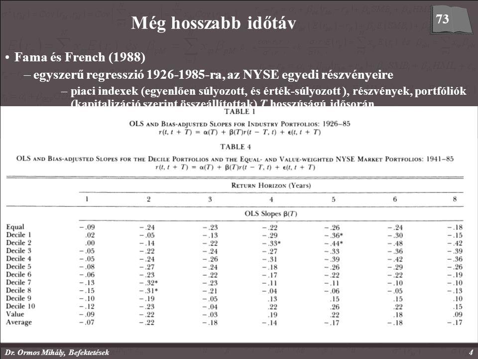 Dr. Ormos Mihály, Befektetések4 Fama és French (1988) –egyszerű regresszió 1926-1985-ra, az NYSE egyedi részvényeire –piaci indexek (egyenlően súlyozo
