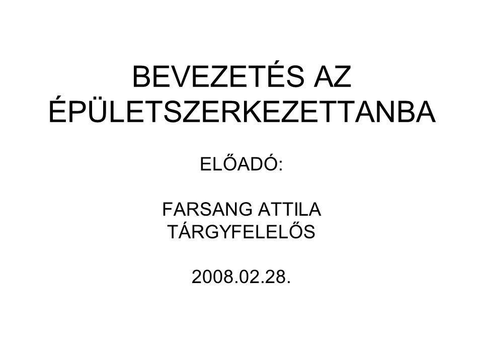 BEVEZETÉS AZ ÉPÜLETSZERKEZETTANBA ELŐADÓ: FARSANG ATTILA TÁRGYFELELŐS 2008.02.28.