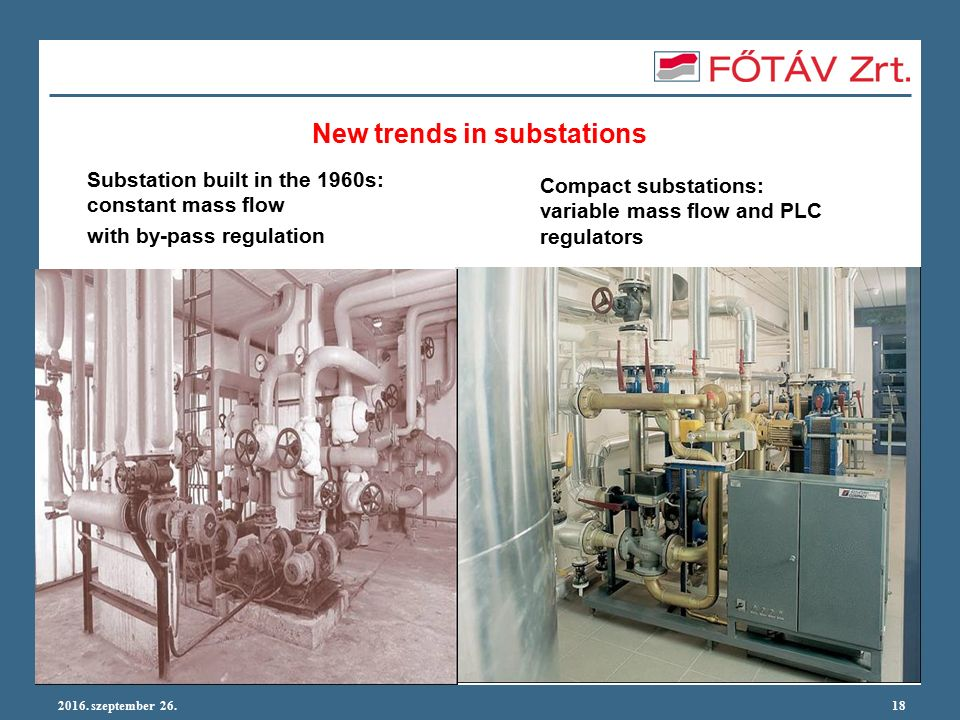 2016. szeptember 26.18 New trends in substations Compact substations: variable mass flow and PLC regulators Substation built in the 1960s: constant ma