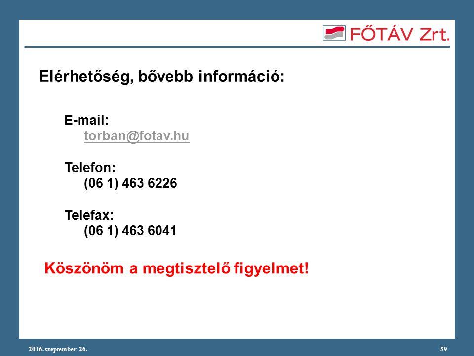 2016. szeptember 26.59 Elérhetőség, bővebb információ: E-mail: torban@fotav.hu Telefon: (06 1) 463 6226 Telefax: (06 1) 463 6041 Köszönöm a megtisztel