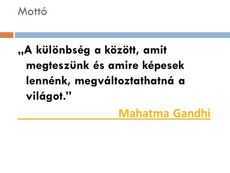 """Mottó """"A különbség a között, amit megteszünk és amire képesek lennénk, megváltoztathatná a világot. Mahatma Gandhi"""