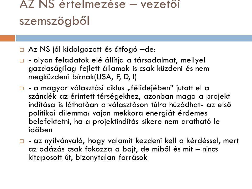 """AZ NS értelmezése – vezetői szemszögből  Az NS jól kidolgozott és átfogó –de:  - olyan feladatok elé állítja a társadalmat, mellyel gazdaságilag fejlett államok is csak küzdeni és nem megküzdeni bírnak(USA, F, D, I)  - a magyar választási ciklus """"félidejében jutott el a szándék az érintett térségekhez, azonban maga a projekt indítása is láthatóan a választáson túlra húzódhat- az első politikai dilemma: vajon mekkora energiát érdemes belefektetni, ha a projektindítás sikere nem aratható le időben  - az nyilvánvaló, hogy valamit kezdeni kell a kérdéssel, mert az odázás csak fokozza a bajt, de miből és mit – nincs kitaposott út, bizonytalan források"""
