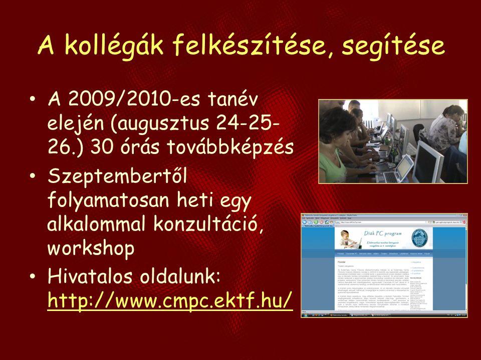 A kollégák felkészítése, segítése A 2009/2010-es tanév elején (augusztus 24-25- 26.) 30 órás továbbképzés Szeptembertől folyamatosan heti egy alkalomm