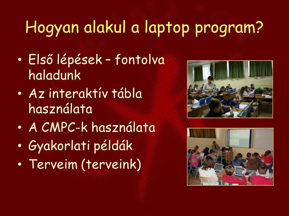 Hogyan alakul a laptop program? Első lépések – fontolva haladunk Az interaktív tábla használata A CMPC-k használata Gyakorlati példák Terveim (tervein