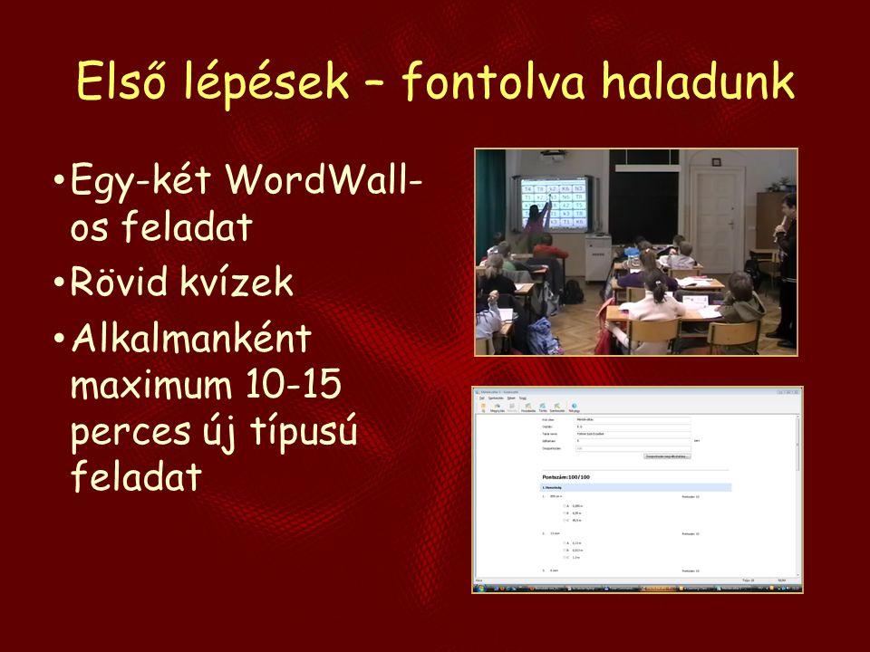 Első lépések – fontolva haladunk Egy-két WordWall- os feladat Rövid kvízek Alkalmanként maximum 10-15 perces új típusú feladat
