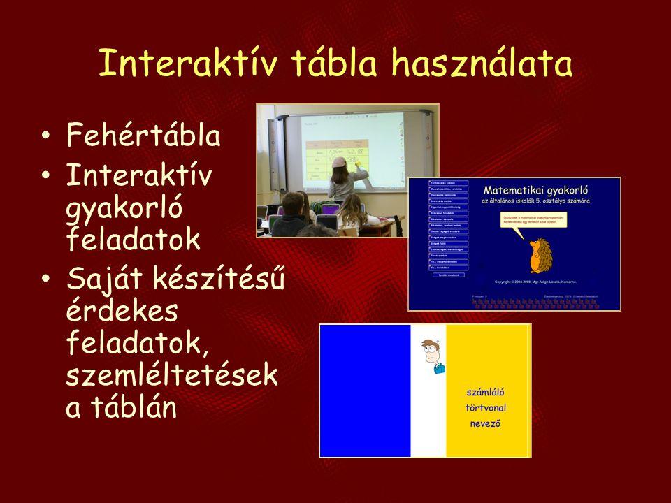 Interaktív tábla használata Fehértábla Interaktív gyakorló feladatok Saját készítésű érdekes feladatok, szemléltetések a táblán
