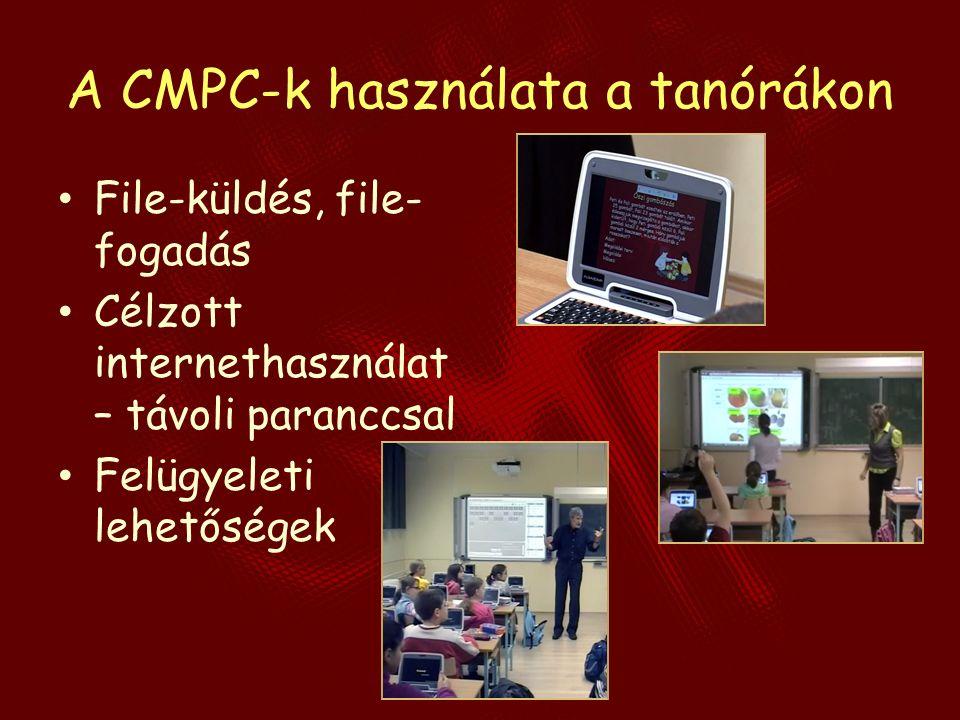 A CMPC-k használata a tanórákon File-küldés, file- fogadás Célzott internethasználat – távoli paranccsal Felügyeleti lehetőségek