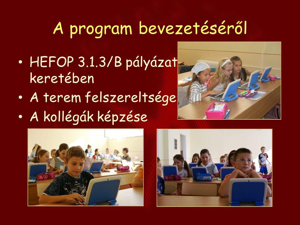 A program bevezetéséről HEFOP 3.1.3/B pályázat keretében A terem felszereltsége A kollégák képzése