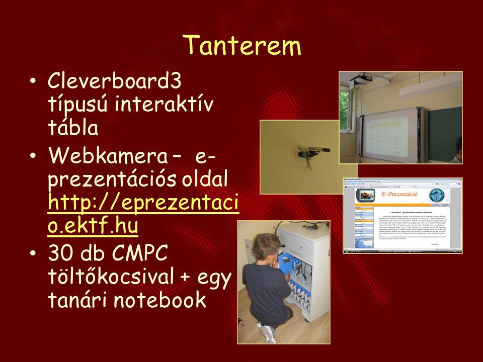 Tanterem Cleverboard3 típusú interaktív tábla Webkamera – e- prezentációs oldal http://eprezentaci o.ektf.hu http://eprezentaci o.ektf.hu 30 db CMPC t