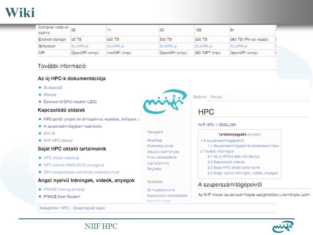 Nemzeti Információs Infrastruktúra Fejlesztési Intézet NIIF HPC Wiki