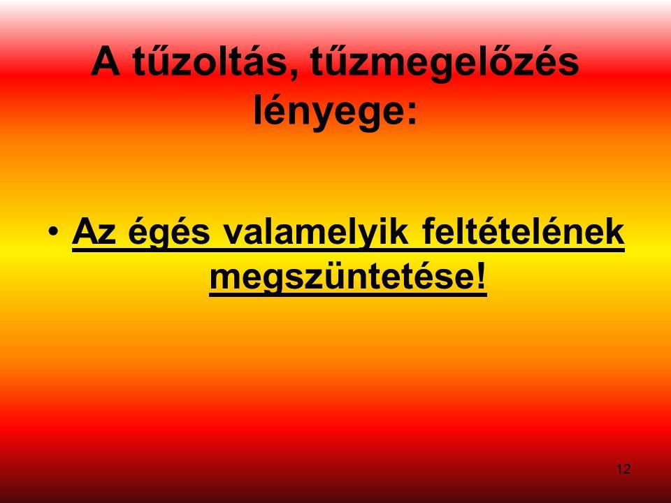 A tűzoltás, tűzmegelőzés lényege: Az égés valamelyik feltételének megszüntetése! 12