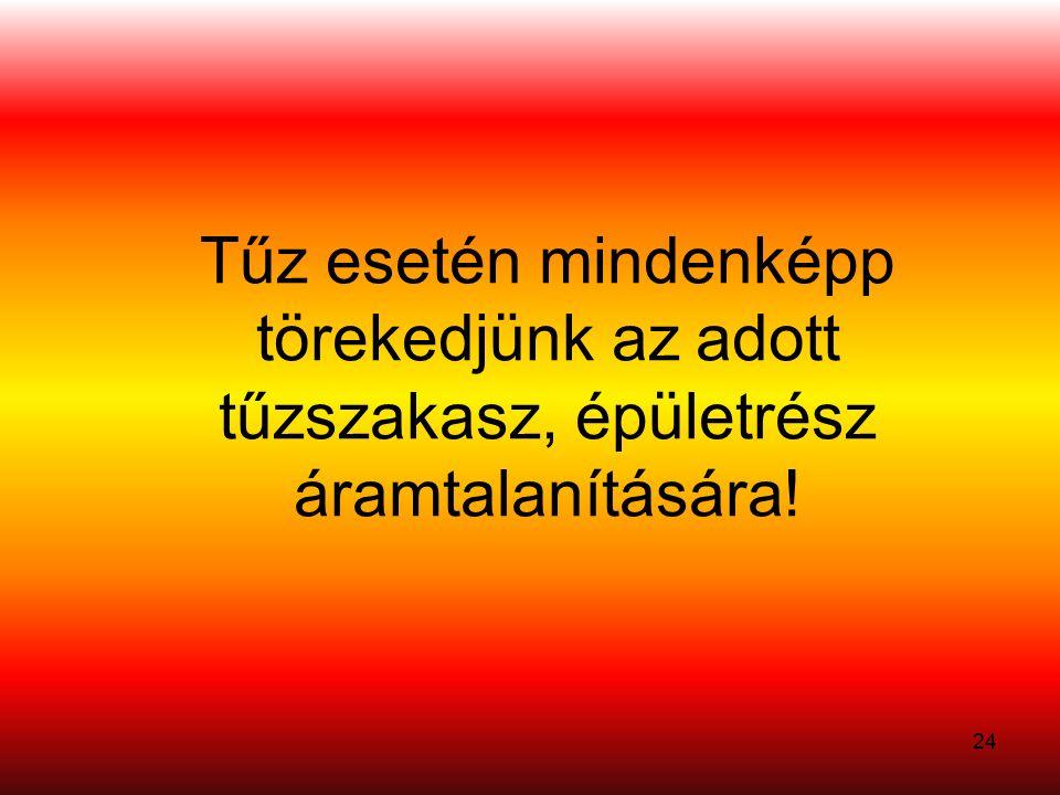Tűz esetén mindenképp törekedjünk az adott tűzszakasz, épületrész áramtalanítására! 24