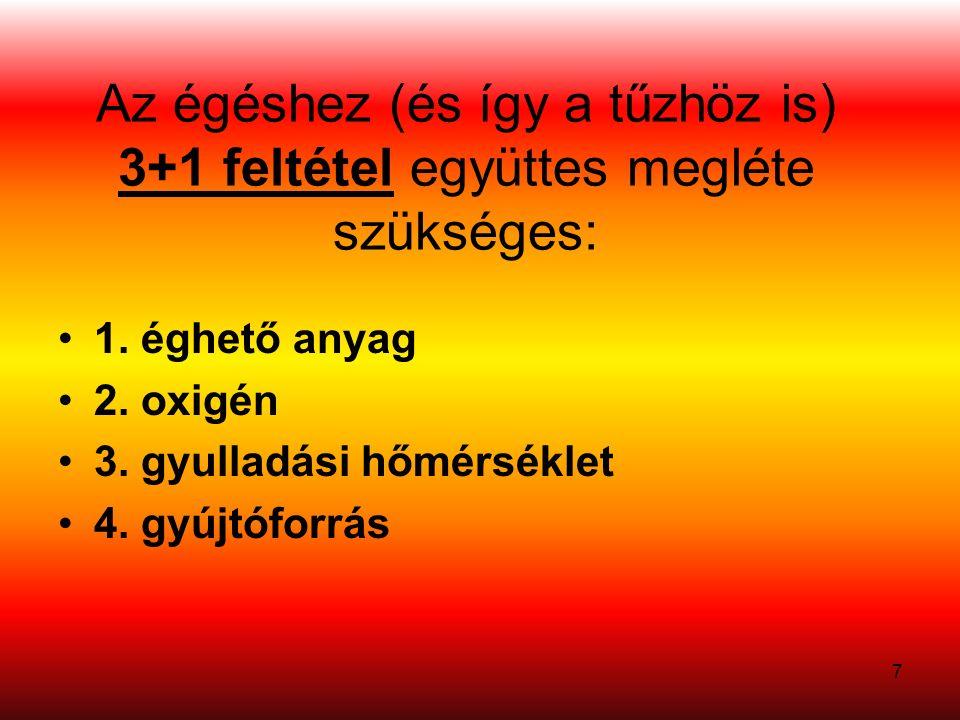7 Az égéshez (és így a tűzhöz is) 3+1 feltétel együttes megléte szükséges: 1.