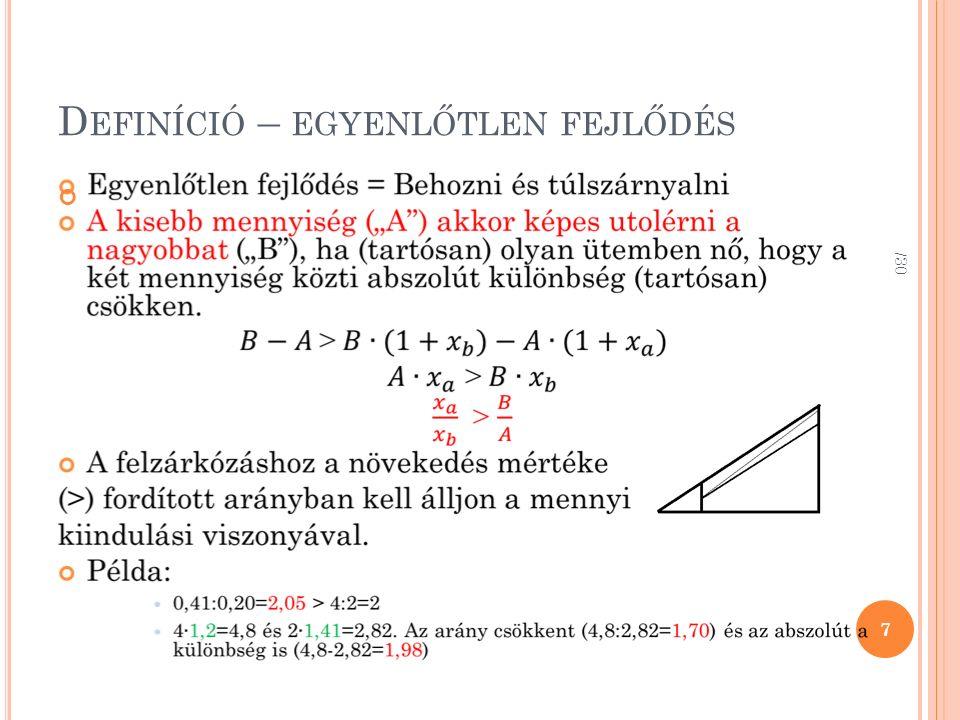 D EFINÍCIÓ – EGYENLŐTLEN FEJLŐDÉS 7 /30