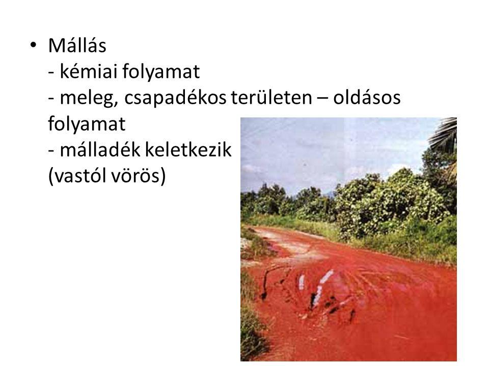 Mállás - kémiai folyamat - meleg, csapadékos területen – oldásos folyamat - málladék keletkezik (vastól vörös)