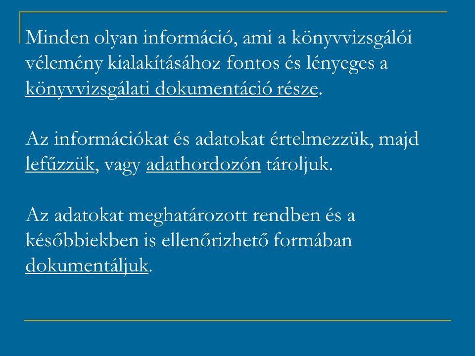 Minden olyan információ, ami a könyvvizsgálói vélemény kialakításához fontos és lényeges a könyvvizsgálati dokumentáció része.