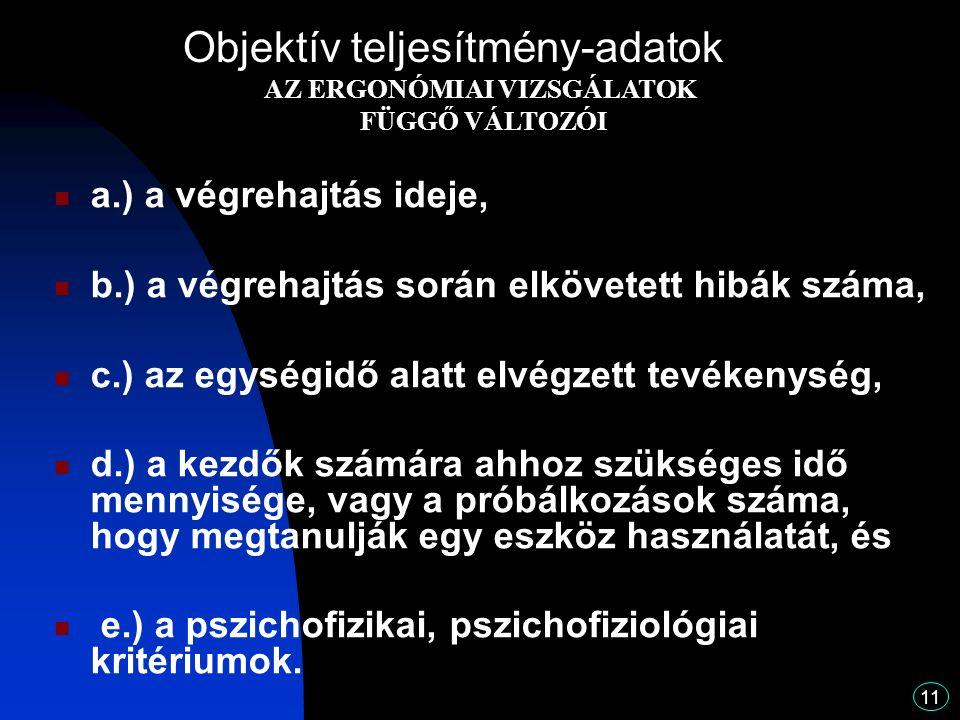 11 a.) a végrehajtás ideje, b.) a végrehajtás során elkövetett hibák száma, c.) az egységidő alatt elvégzett tevékenység, d.) a kezdők számára ahhoz szükséges idő mennyisége, vagy a próbálkozások száma, hogy megtanulják egy eszköz használatát, és e.) a pszichofizikai, pszichofiziológiai kritériumok.