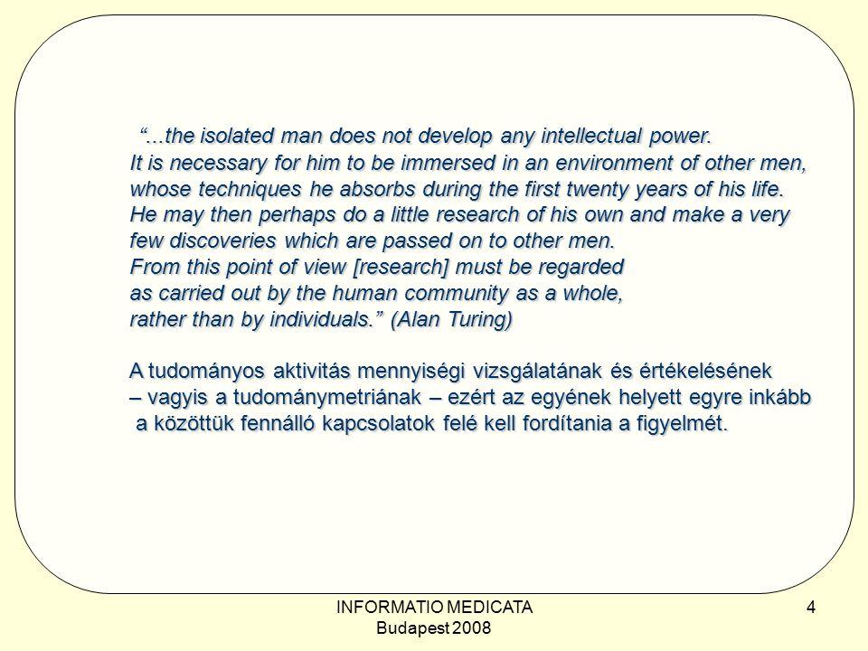 INFORMATIO MEDICATA Budapest 2008 5 Az Erdős-szám, a strukturális–evaluatív tudománymetriai mutatószám archetipusa Definíció: Erdős Pál Erdős-száma 0.