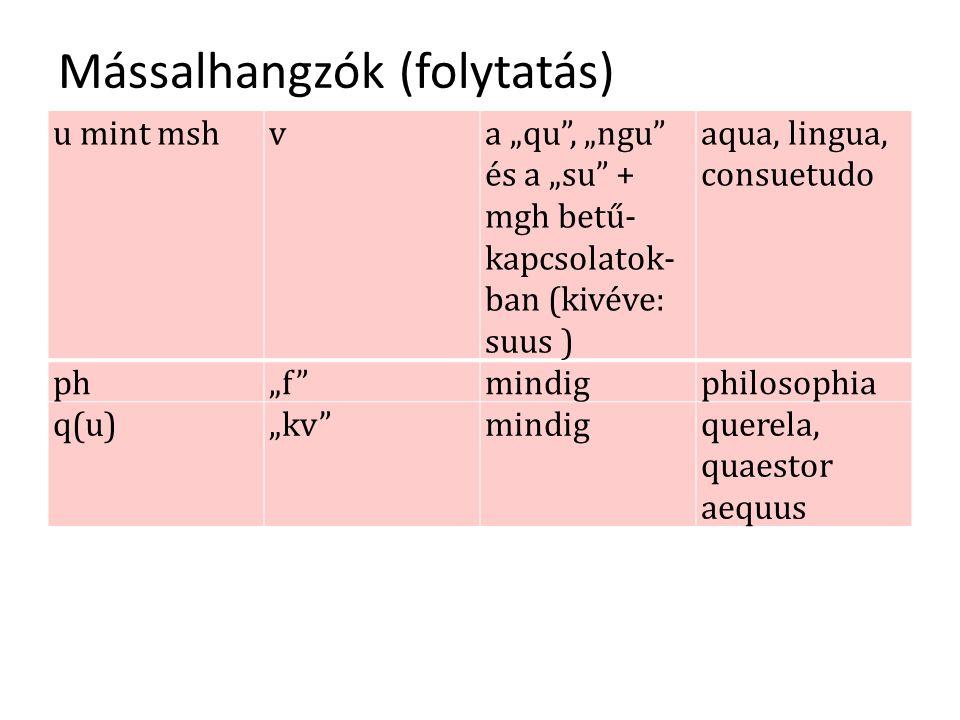 "Mássalhangzók (folytatás) u mint mshva ""qu , ""ngu és a ""su + mgh betű- kapcsolatok- ban (kivéve: suus ) aqua, lingua, consuetudo ph""f mindigphilosophia q(u)""kv mindigquerela, quaestor aequus"
