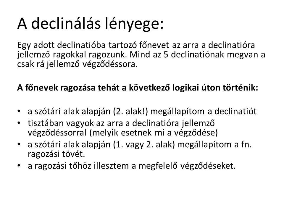 A declinálás lényege: Egy adott declinatióba tartozó főnevet az arra a declinatióra jellemző ragokkal ragozunk.