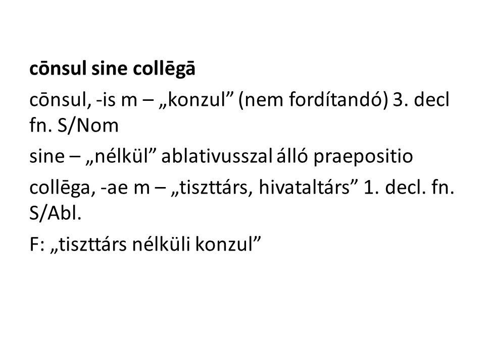 "cōnsul sine collēgā cōnsul, -is m – ""konzul (nem fordítandó) 3."
