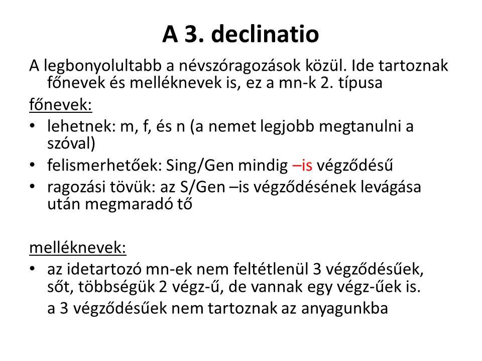 A 3. declinatio A legbonyolultabb a névszóragozások közül.