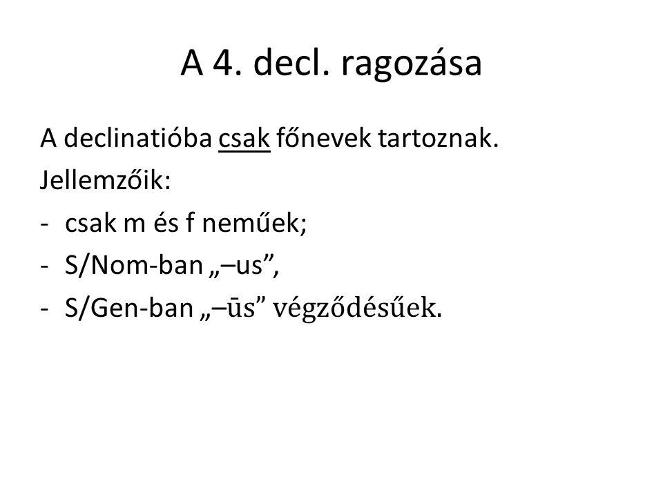 A 4. decl. ragozása A declinatióba csak főnevek tartoznak.