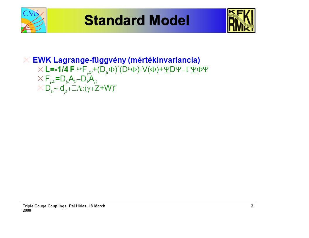 Triple Gauge Couplings, Pal Hidas, 18 March 2008 2 Standard Model EWK Lagrange-függvény (mértékinvariancia) L=-1/4 F  F  +(D   ) * (D   )-V(  )+  D  F  =D  A  D A  D   d    +W)