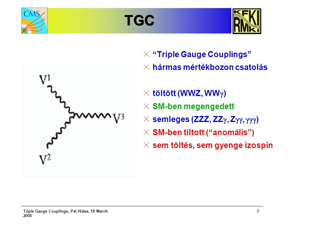 Triple Gauge Couplings, Pal Hidas, 18 March 2008 3 TGCTGC Triple Gauge Couplings hármas mértékbozon csatolás töltött (WWZ, WW  ) SM-ben megengedett semleges (ZZZ, ZZ  Z  ) SM-ben tiltott ( anomális ) sem töltés, sem gyenge izospin